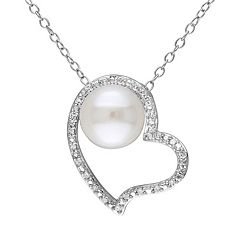 Stella Grace 1/10 Carat T.W. Diamond & Freshwater Cultured Pearl Sterling Silver Heart Pendant Necklace