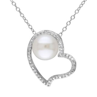 1/10 Carat T.W. Diamond & Freshwater Cultured Pearl Sterling Silver Heart Pendant Necklace