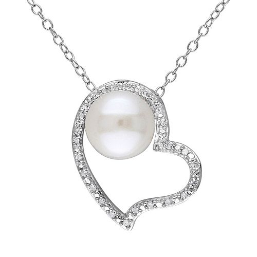 Stella Grace 1/10 Carat T.W. Diamond & Freshwater Cultured Pearl Sterling Silver Heart Pendant Necklace