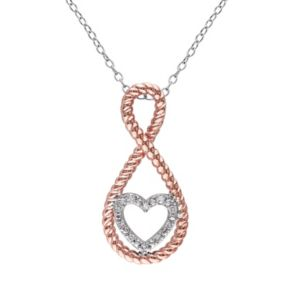 Stella Grace Diamond Accent Sterling Silver Two Tone Infinity Heart Pendant Necklace