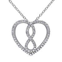 1/4 Carat T.W. Diamond Sterling Silver Infinity & Heart Necklace