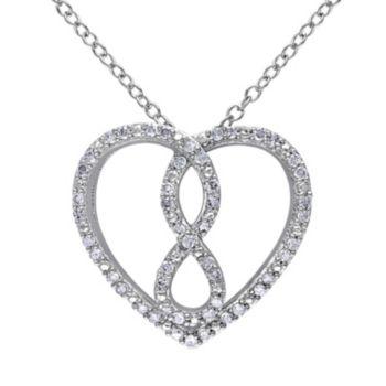 1/4 Carat T.W. Diamond Sterling Silver Infinity & Heart Necklace