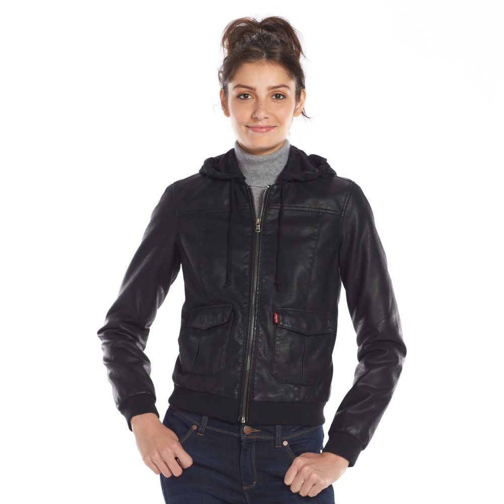 Levi's Faux-Leather Hooded Bomber Jacket