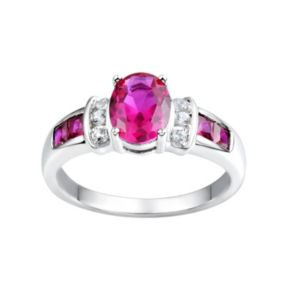 Lab-Created Ruby & Lab-Created White Sapphire Sterling Silver Ring