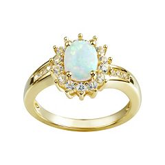 Lab-Created Opal & Lab-Created White Sapphire 14k Gold Over Silver Flower Ring
