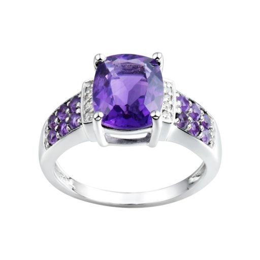 Amethyst & Diamond Accent Sterling Silver Ring