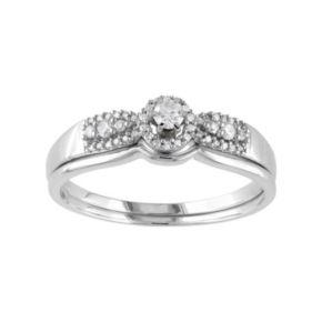 Stella Grace Diamond Halo Engagement Ring Set in 10k White Gold (1/3 Carat T.W.)