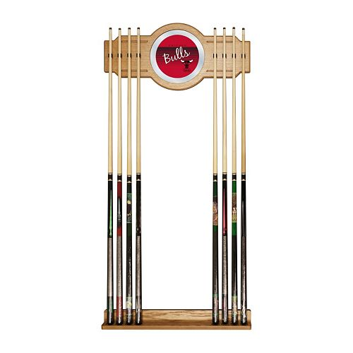 Chicago Bulls Hardwood Classics Billiard Cue Rack with Mirror