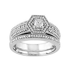 Stella Grace Diamond Halo Engagement Ring Set in 14k White Gold (1/2 Carat T.W.)
