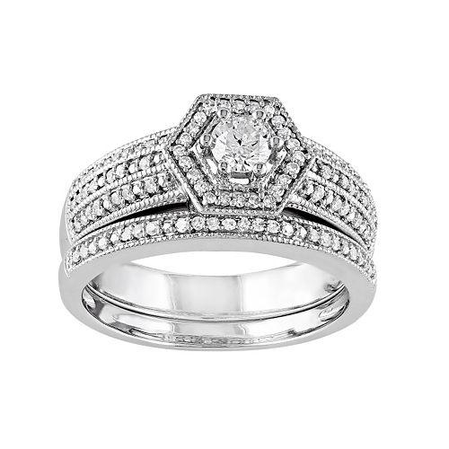Stella Grace Diamond Halo Engagement Ring Set in 14k White Gold (1/2 Carat T.W.)