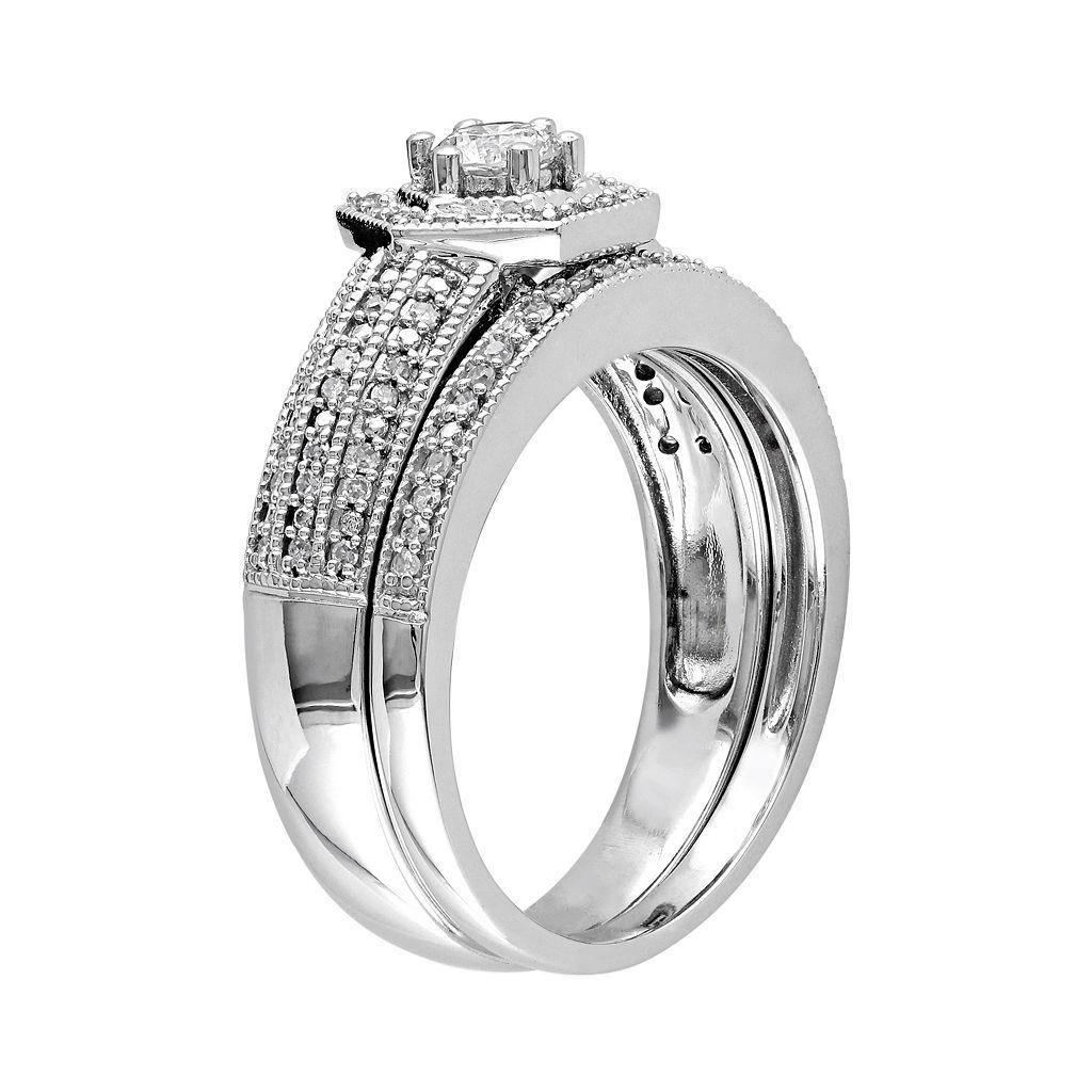 Diamond Halo Engagement Ring Set in 14k White Gold (1/2 Carat T.W.)