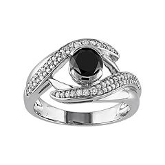 Black & White Diamond Bypass Engagement Ring in 10k White Gold (1 1/4 Carat T.W.)