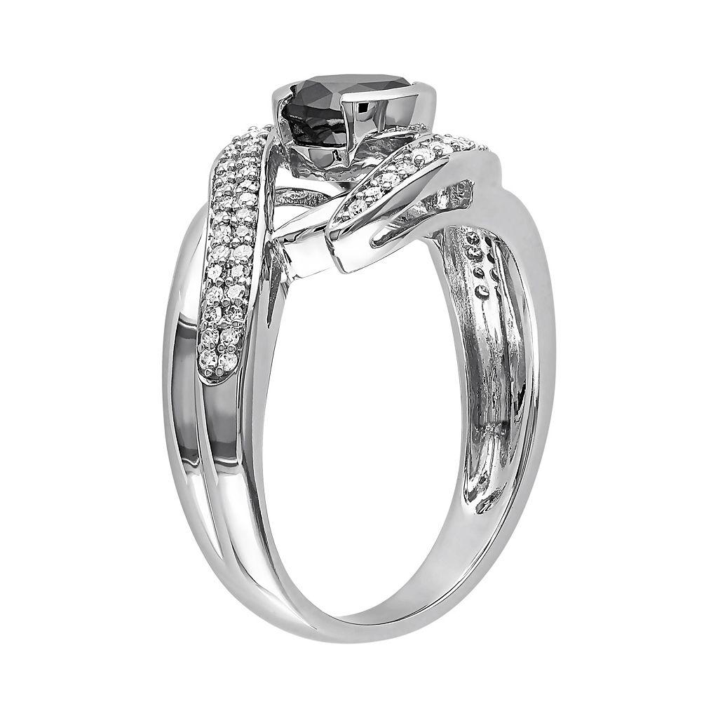 Black & White Diamond Bypass Engagement Ring in 10k White Gold (1 1/4 Carat T.W.)