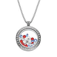 Blue La Rue Crystal Stainless Steel 1 in Round Star &