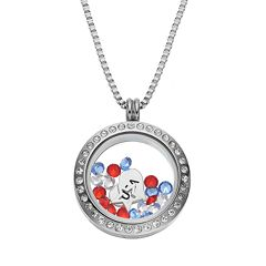 Blue La Rue Crystal Stainless Steel 1 in Round Star & 'USA' Charm Locket - Made with Swarovski Crystals