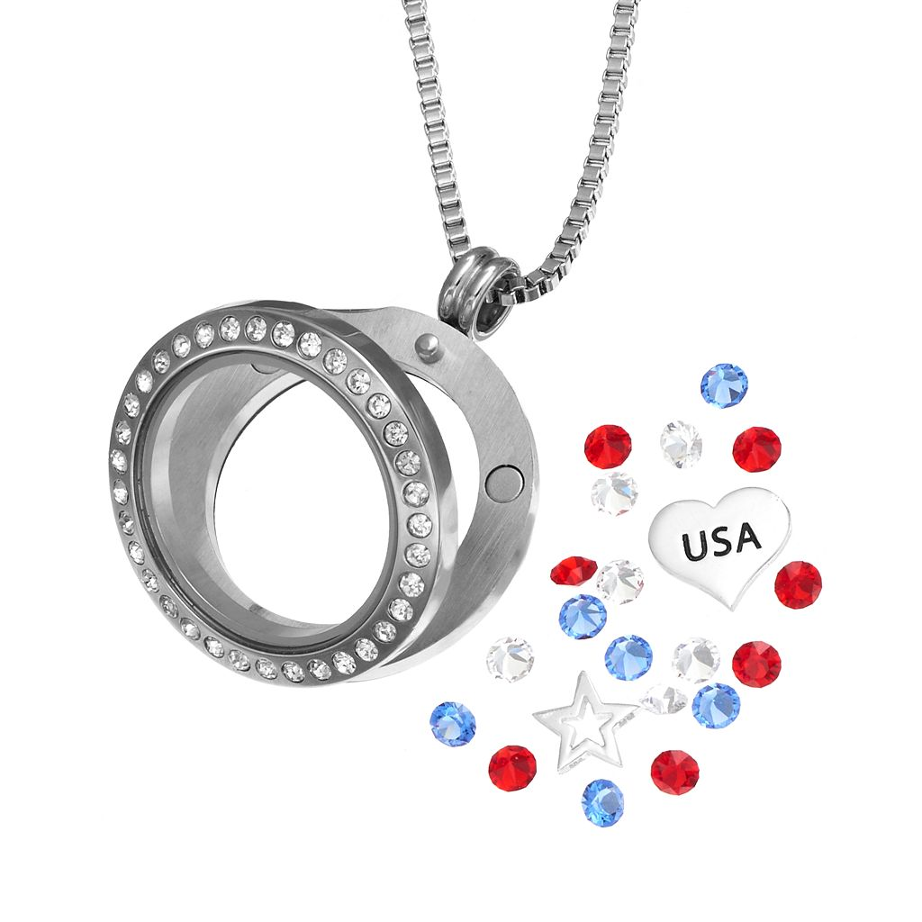 Blue La Rue Crystal Stainless Steel 1-in. Round Star &