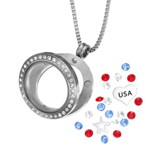 "Blue La Rue Crystal Stainless Steel 1-in. Round Star & ""USA"" Charm Locket - Made with Swarovski Crystals"