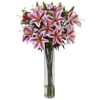 nearly natural Rubrum Lily Large Cylinder Arrangement