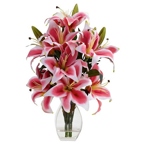 nearly natural Rubrum Lily Decorative Arrangement