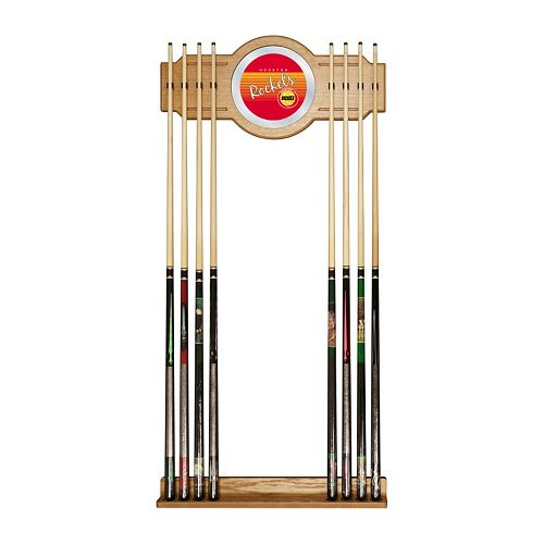 Houston Rockets Hardwood Classics Billiard Cue Rack with Mirror