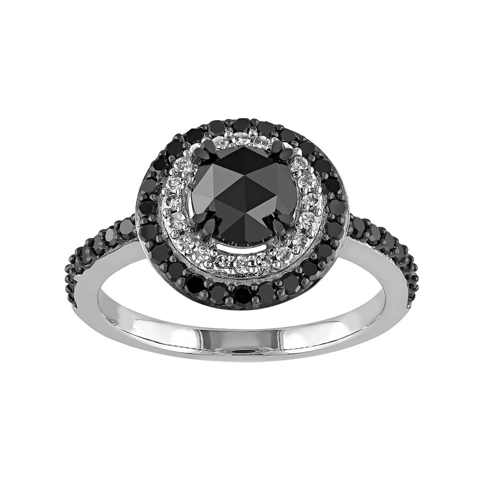 Stella Grace Black & White Diamond Tiered Halo Engagement Ring in 10k White Gold (1 1/2 Carat T.W.)