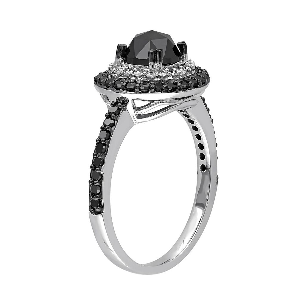 Black & White Diamond Tiered Halo Engagement Ring in 10k White Gold (1 1/2 Carat T.W.)
