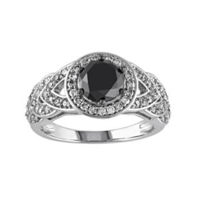 Black & White Diamond Halo Engagement Ring in 10k White Gold (2 Carat T.W.)