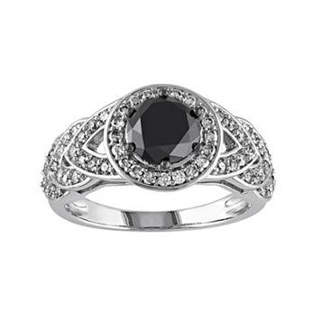 Black & White Diamond Halo Engagement Ring in 10k White Gold (2 Carat T.W.)