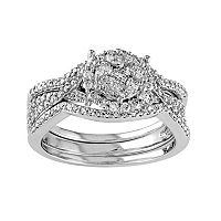 Diamond Cluster Engagement Ring Set in 10k White Gold (3/4 Carat T.W.)