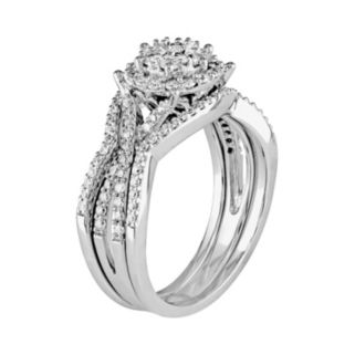 Diamond Cluster Engagement Ring Set in 10k White Gold (3/4 Carat T.W.)