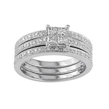 Diamond Engagement Ring Set in 10k White Gold (3/8 Carat T.W.)