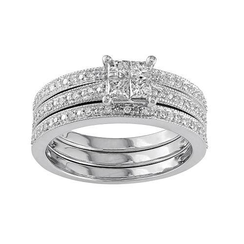 Stella Grace Diamond Engagement Ring Set in 10k White Gold (3/8 Carat T.W.)