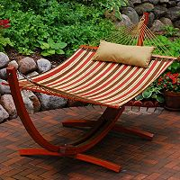 Algoma 2 pc Striped Hammock & Stand Set