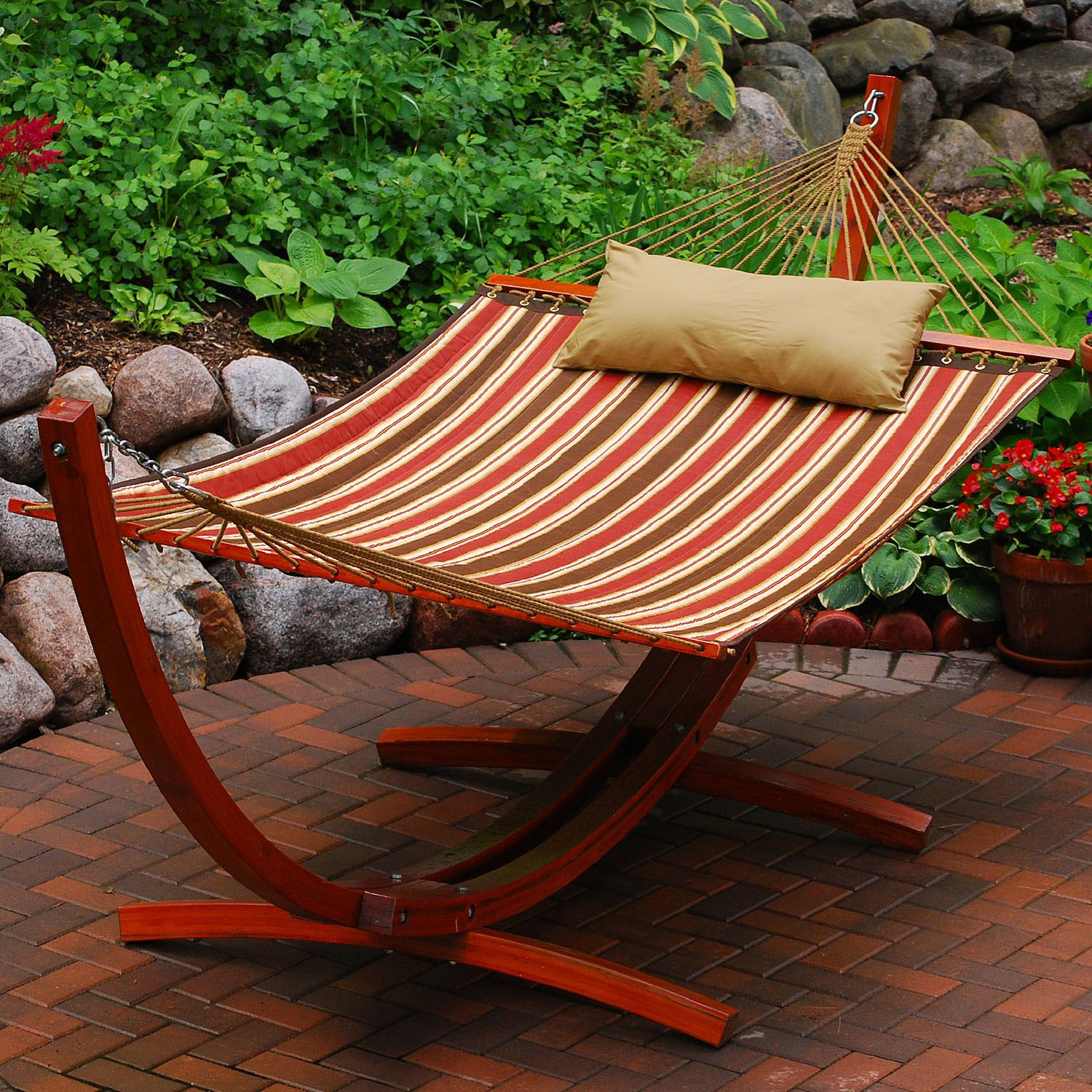 Algoma 2 Piece Striped Hammock U0026 Stand Set