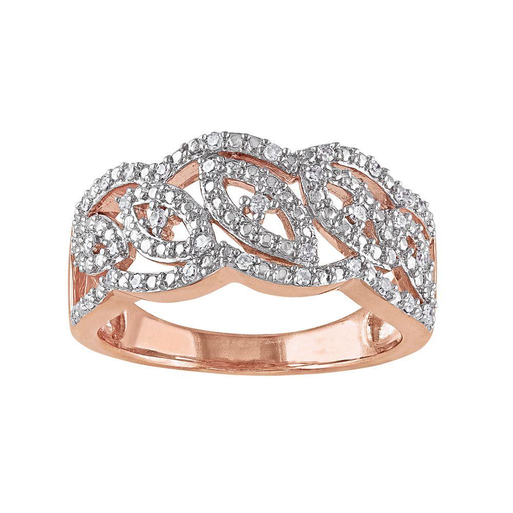 Stella Grace 1/5 Carat T.W. Diamond Pink Rhodium-Plated Sterling Silver Openwork Ring