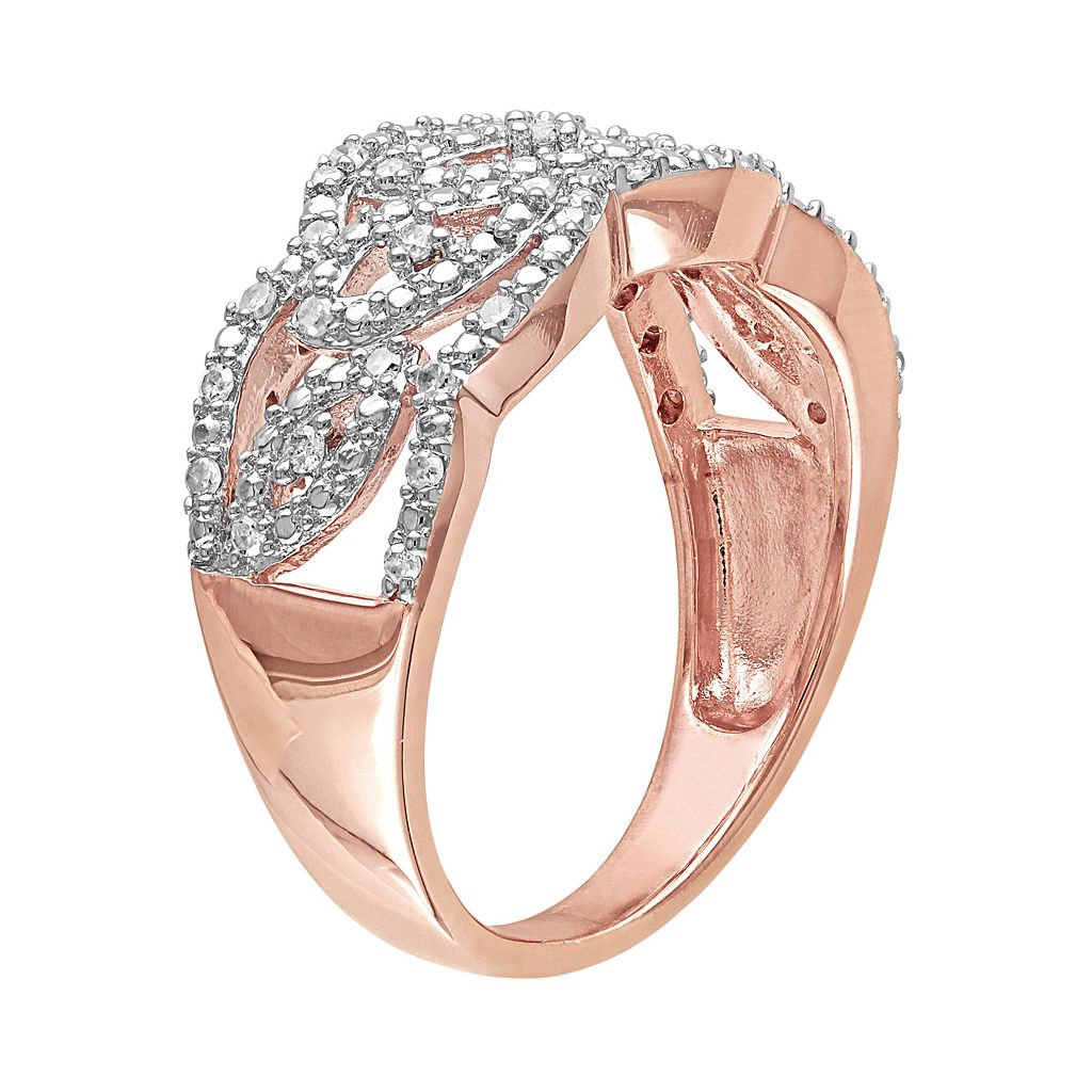 1/5 Carat T.W. Diamond Pink Rhodium-Plated Sterling Silver Openwork Ring