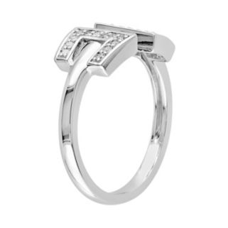 1/8 Carat T.W. Diamond Sterling Silver Open Ring