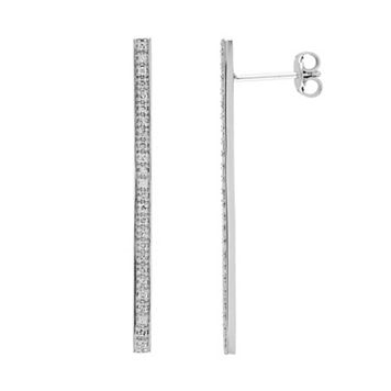 1/4 Carat T.W. Diamond Sterling Silver Stick Drop Earrings