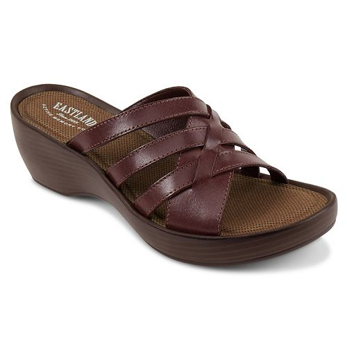 Eastland Poppy Women S Strappy Slide Wedge Sandals