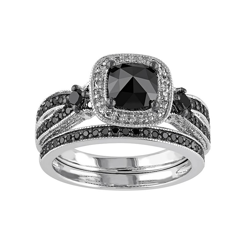 Black & White Diamond Halo Engagement Ring Set in Sterling Silver (1 1/2 Carat T.W.)