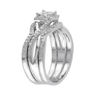 Diamond Cluster Engagement Ring Set in Sterling Silver (1/3 Carat T.W.)