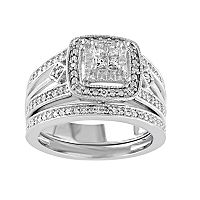 Diamond Halo Engagement Ring Set in Sterling Silver (1/4 Carat T.W.)