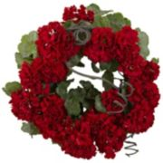 nearly natural 17-in. Geranium Wreath