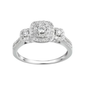 Promise Love Forever 1/2 Carat T.W. Certified Diamond Sterling Silver 3-Stone Halo Anniversary Ring