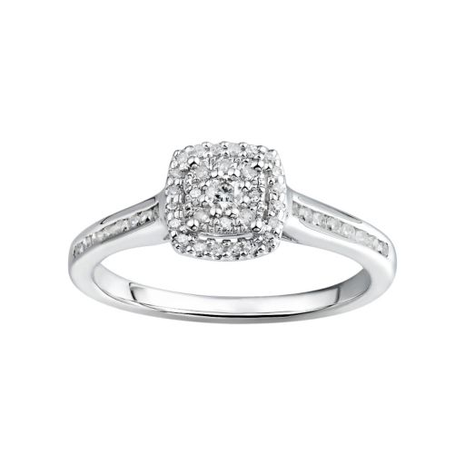 Promise Love Forever Certified Diamond Halo Engagement Ring in Sterling Silver (1/3 Carat T.W. )
