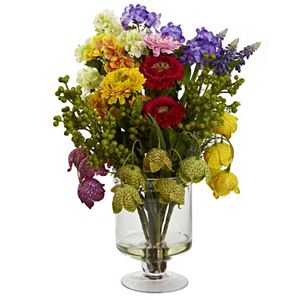 Nearly Natural 1353-WH Mixed Daisy Arrangement Large