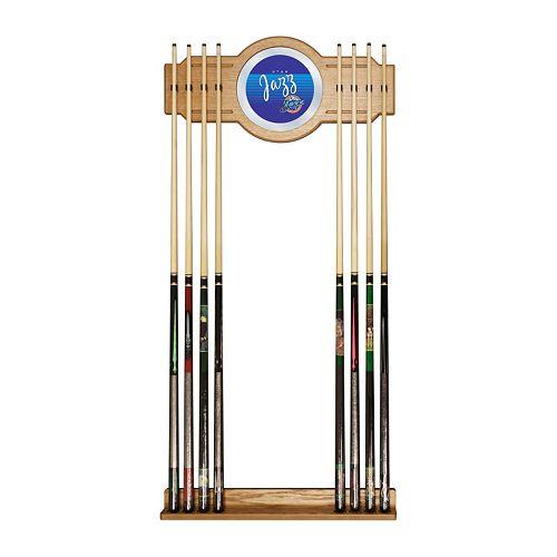 Utah Jazz Hardwood Classics Billiard Cue Rack with Mirror