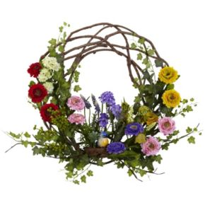 nearly natural 22-in. Spring Floral Wreath