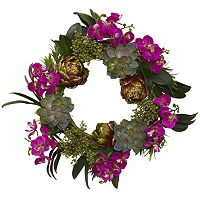 nearly natural 20 in Orchid, Artichoke & Succulent Wreath