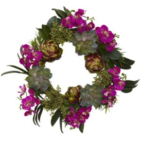 nearly natural 20-in. Orchid, Artichoke & Succulent Wreath